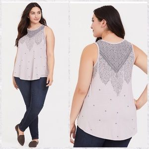 Torrid Feather High Neck Sleeveless Tank Top